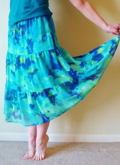 Gypsy Skirt Boho Hippie Blue Tie Dye Indie by TaborsTreasures, $23.00