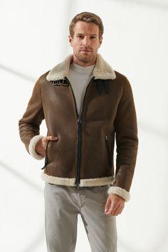 BARBOSA Men Aviator Tan&Off-White Shearling Jacket Black Noble   Luxury Shearling Black Shearling Jacket, Shearling Coat, Leather Jacket, Leather Coats, Aviator Jackets, Collor, Tabata, Fast Fashion, Winter Coat