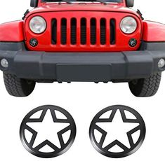Jeep Wrangler Accessories - Front Turn Signal Light Cover Guard Aluminum Star Front Lamp Cover Blinker Insert Guard Cover Trim 2 Pcs for Jeep Wrangler 2007-2018 JK 2 Door & JKU Unlimited 4 Door Jeep Wrangler Lights, 2007 Jeep Wrangler, Jeep Liberty Sport, Jeep Wrangler Accessories, Black Jeep, Lamp Cover, Light Covers, Volkswagen Logo, San Jose