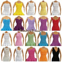 "Necklines of the ""Happily Ever After"" #crochet pattern for fashion dolls."