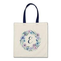 Boho Watercolor Floral Purple & Blue | Monogram Tote Bag