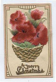 Antique Postcard Merry Christmas Puffy Velvet Flowers • $3.87