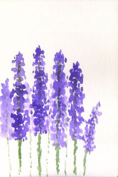 Lavender Watercolour Fresh Flowers by EarthyColours on Etsy