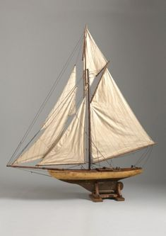 Large Vintage Pond Yacht, Painted and Varnished Wood with Brass, Fabric, Metal Rigging Details , English, c.1910