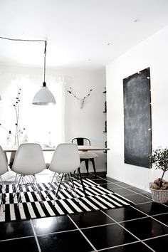 New Column: Handmade Home — - New Column: Handmade Home — black and white. Add a splash of yellow and this is the dining room I MUST HAVE!