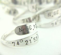 Latitude Longitude Sterling Ring Custom Name Word Special Meaning Personalized