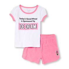 Baby And Toddler Girls Short Sleeve 'Today's Good Mood Is Sponsored By Ice Cream' Top And Patch Terry Dolphin Shorts PJ Set