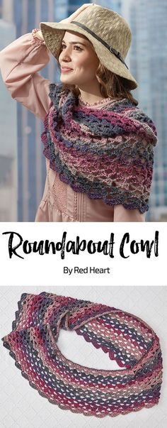 Roundabout Cowl free crochet pattern in Colorscape yarn. This versatile cowl can be worn long, doubled up, or pulled over your shoulders. Wear it however you like, it's a great project to crochet!