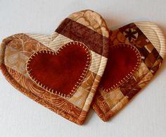 Handmade Cotton & Wool Caramel Hearts Mug Mats by QuiltShenanigans