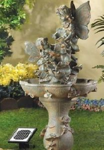large 3 solar fairy statue waterfall water fountain outdoor garden pump ul - Solar Water Fountain