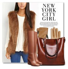 NYC Girl by city-mom on Polyvore featuring polyvore fashion style Burberry clothing gilet fauxfur waystowear
