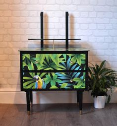 Upcycled Vintage Mid Century 1950s Dressing Table Chest of Drawers, Tropical Parrot Decoupage by ThriftysRetro on Etsy