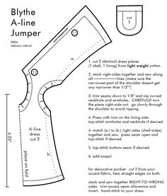 shirt pattern | Description : Lined A-line dress with a low collar to be worn over a ...