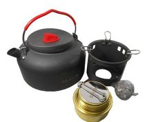 Ubens Alocs Outdoor Kettle Camping Cookware Water Pot 14l Litre Kettle Alcohol Stove and Bracket 420g ** Be sure to check out this awesome product.