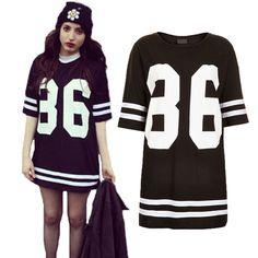 1199a332 2013 Women Ladies Celebrity Oversized 86 American Baseball Tee T shirt Top  Varsity Short Sleeve Loose Dress Black/White %^-in Dresses from A.
