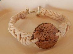 Braided Large Wood Charm Bracelet by ItsKarmuh on Etsy