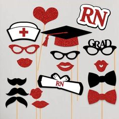 Nurse Graduation Party Photo Booth Props 18 pc RN BSN Prop Set Nurse Party Nursing School Graduation Nurse Gifts LPN Cna Red by PaperGala on Etsy https://www.etsy.com/listing/280328618/nurse-graduation-party-photo-booth-props