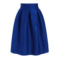 SheIn(sheinside) Royal Blue Jacquard Flare Midi Skirt ($30) ❤ liked on Polyvore featuring skirts, blue, royal blue skirt, jacquard skirt, flared skirt, flare skirt and knee high skirts