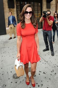 Pippa Middleton spotted walking in streets of Manhattan wearing her French Sole India Red Suede ballet flats!