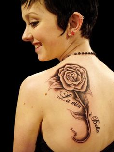 Back Rose Tattoo Designs for Women