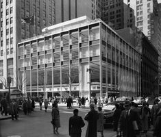 Clear structural composition and carefully designed details characterized this pristine modernist building when it opened in Surrounded by skyscrapers, this branch for the Manufacturers Hanover Trust Company bank had only four stories, although Som Architecture, Architecture Visualization, Architecture Details, Trust Company, Googie, Mid-century Modern, Buildings, Architect Magazine, City