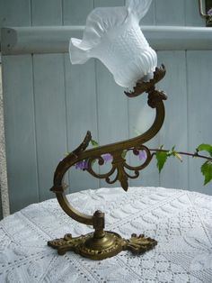 antique french wall hanging bronze lamp with by Lepapadesmatous, $220.00