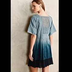 "Anthropologie Holding Horses Dipped Tunic Dress Anthropologie Holding Horses Ocean Dipped Tunic Dress with separate sleeveless slip beautiful embroidered & pleated blue ombre / dipped dyed easy fit relaxed silhouette tunic dress with dark blue voile embroidered ruffled hem short sleeves with lace trim * sheer embroidered center back New Without Tags  *  Size:  X Small retail price:  $168.00  *there is a black line through the tag to prevent store return           measures:          34""…"