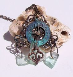 Somewhere In Time Misty Blue Sea Glass Necklace