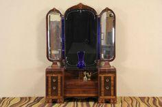 Art Deco Waterfall 1930's Dressing Table Vanity, Blue Mirrors #ArtDeco