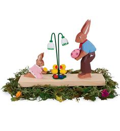 Erzgebirge Handcarved Large Easter Collectible Father and Child Bunny (Magic Cabin) Easter Gifts For Kids, Easter Toys, Easter Bunny, Filled Easter Baskets, Rabbit Art, Do It Yourself Crafts, Egg Decorating, Festival Decorations, Doll Toys