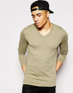 "T-shirt by ASOS Soft-touch jersey V-neck Regular fit - true to size Machine wash 50% Cotton, 50% Polyester Our model wears a size Medium and is 185.5cm/6'1"" tall"