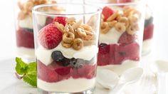 parfait de ricotta y berries con cheerios