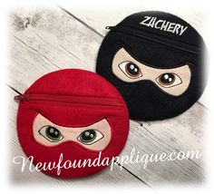 "Newfound Applique  - In The Hoop Ninja Zipped Case Embroidery Machine Design for 5""x7"" Hoop, $3.00 (http://www.newfoundapplique.com/in-the-hoop-ninja-zipped-case-embroidery-machine-design-for-5x7-hoop/)"