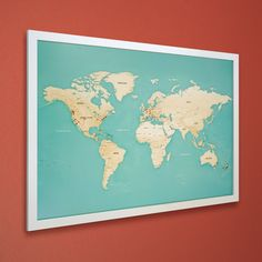 Cartoon animal world map for children and kids animals from all push pin travel map white frame by maprepublic on etsy gumiabroncs Choice Image