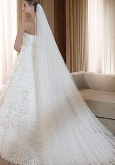 Cathedral length Wedding Veil Full width Cut edge ( Raw edge)
