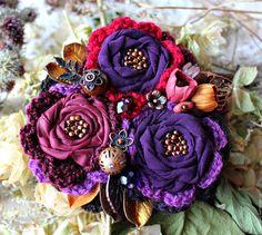 Купить Ежевичный букет, брошь. - фиолетовый, бордовый, бохо шик, бохо брошь, романтический стиль