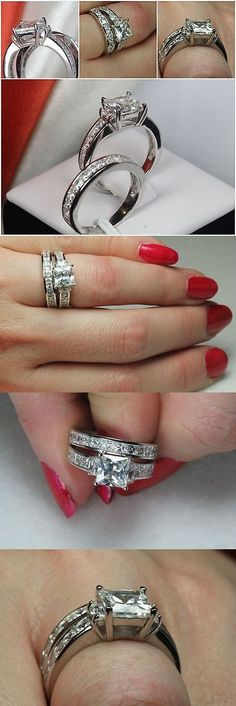 Rings 67681: Lovely Sterling Silver 925 Princess Cut Engagement Ring Wedding Ring Set -> BUY IT NOW ONLY: $35.45 on eBay!