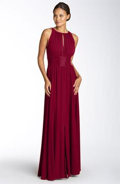 JS Boutique Cutaway Shoulder Beaded Waist Gown - $158.00    A cascade of gathered jersey shapes a Grecian-inspired gown with deep keyholes in the front and back. Tonal beads at the waist add glamour, while a center-front slit allows for ease of movement.
