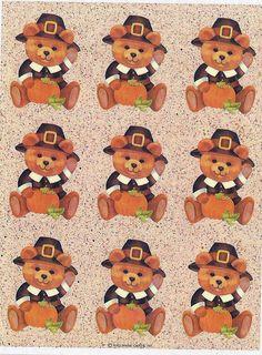 Stickers Vintage 2 sheets Hallmark Thanksgiving PILGRAM TEDDY BEAR/PUMPKIN A1-8 #Hallmark #Stickers