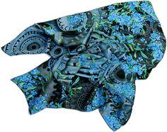 """Deep Inside"" - 100% silk scarf 90cm/36"" square blue floral #silkscarf #silkscarves #designerscarf #designersilkscarf #unique #handrolled"