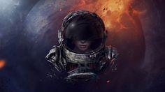 astronaut girl helmet planet space