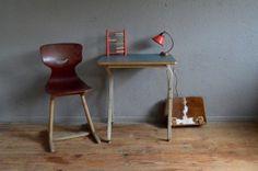 Bureau enfant pupitre industriel atelier piétement métallique US mobilier desserte usine antic indus kid desk