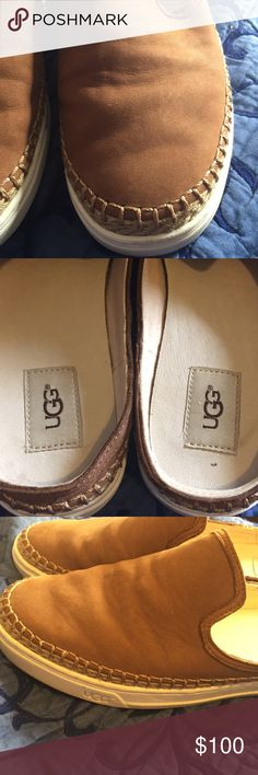 Ugg mule heel flats Cognac leather worn 2x very comfortable. I love them but they are to big for me. So I must part with them.? UGG Shoes Mules & Clogs