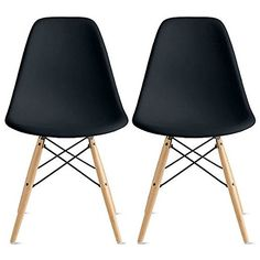 2xhome - Eames Style DSW Molded Plastic Shell Bedroom Dining Side Ray Chair with Brown Wood Eiffel Dowel-Legs Base Nature Legs Armless, Black, Set of 2 2xhome http://smile.amazon.com/dp/B00REXJJQW/ref=cm_sw_r_pi_dp_Iciavb0JF5MFQ