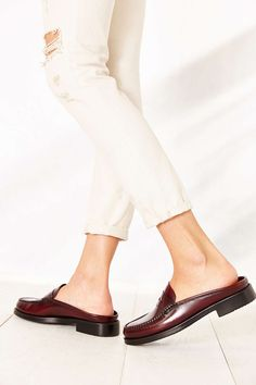 maroon leather mules