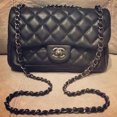Chanel Now & Forever flap in Reuthenium hardware