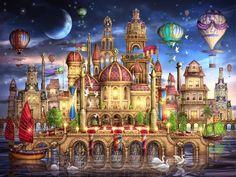 Moated Castle: Schmidt Ciro Marchetti 2000 piece Fantasy Surreal Jigsaw Puzzle #Schmidt