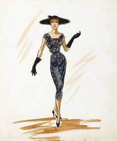 Edith Head costume sketch of Audrey Hepburn for Sabrina. Lot 507