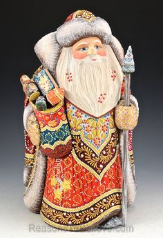 Regal Santa Claus with Gifts   Santa Claus Figurines and Hand Carved Wooden Santas
