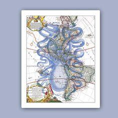 Pulpo de impresión 2 en azul en el mapa antiguo de arte náutica América, Marina decoración de la pared, decoración costera